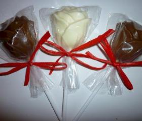 Solid Chocolate Romantic Rose Lollipops Order of 6