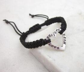 Heart friendship bracelet inspiration jewelry love hope believe macrame bracelet BLACK CORD - more colors available