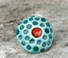 Red and turquoise ring, ceramic red jewelry spring 2012