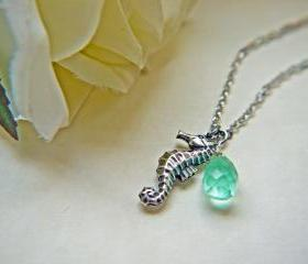 Seahorse Necklace. Antique Silver. Aqua Blue Teardrop Briolette. Marine. Nautical. Summer