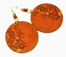 Chestnut Brown Earrings Flower motif Warm Tones