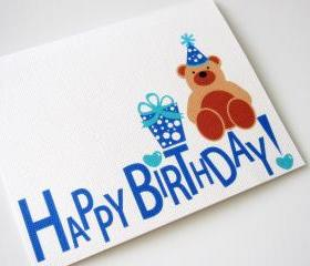 happy birthday card, Teddy Bear Happy Birthday card A285