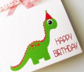 Dino Birthday Card, cute Green Dinosaur Birthday Card A416