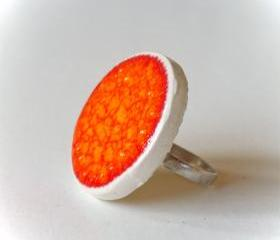 Orange ring, fashion jewelry ceramic