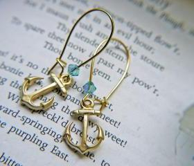 Matte Gold Anchor And Swarovski Crystal Earrings. Swarovski Crystals Aquamarine Aurora Borealis