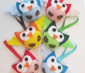 6 Christmas Owl ornaments, felt party favors A414