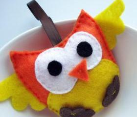 Yellow and Orange felt Mini Owl Small felt plush A415