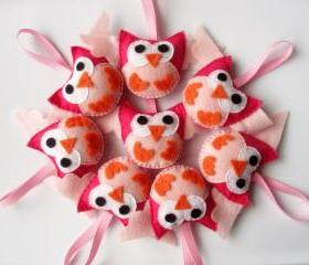 8 Mini owls felt party favors A343