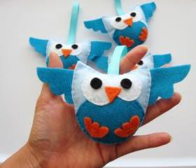 4 owl plush toy, cute Mini Felt owl plush toys