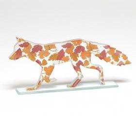 Autumn Leaves Fox Glass Sculpture