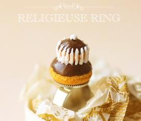 Miniature Food Jewlery - Chocolate Religieuse Ring