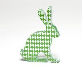 Green Harlequin Hare Glass Sculpture