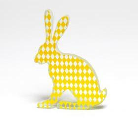Yellow Harlequin Hare Glass Sculpture