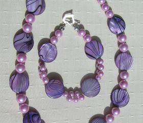 Necklace & Bracelet Set - Mother of Pearl and Shell Pearl - 'Lavender Fantasia'