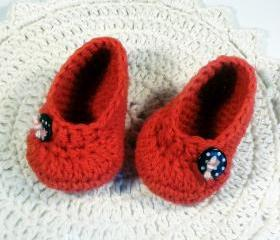 Red crochet baby booties - ballet flat style - with black polka dot buttons, infant shoes