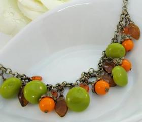 Orange and green colorful bracelet