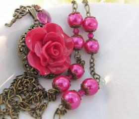 Red Raspberry Rose vintage style necklace, fuchsia, romantic jewelry
