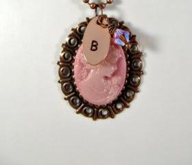 Hand stamped pink cameo initial necklace, personalized, romantic jewelry, Mother's Day