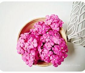 10 Flat mini mulberry paper flowers Sweet pink / pack