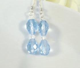 Blue earrings with Swarovski crystals, dangle, romantic jewelry
