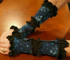 Medium Arm Warmers Blue Floral Print and Black Upcycled Knit Wear