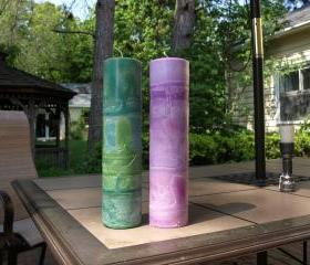 Palm Feather Round Pillar Candle 12 Inch Tall Select Colors and Fragrance