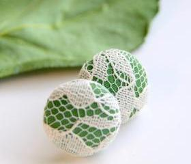 Green and White Lace Fabric Button Studs