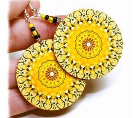 Sunny rosette Earrings Mandala Round - Summer Yellow - decoupage earrings - double faced 