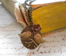 Kissing Couple Pendant - Bird Necklace - Brown Flower Necklace 