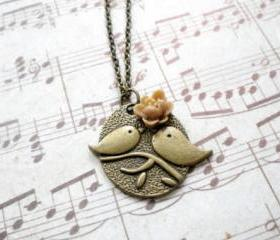 Kissing Couple Pendant - Bird Necklace - Latte Flower Necklace