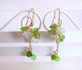 Dancing Green Fairies Earrings - Peridot, MoonStone, 14K Gold