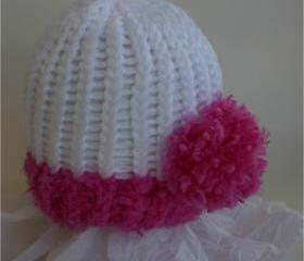 Fuschia (Rosestone) newborn pom pom hat