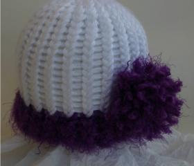 Purple (Tamarin) side pom newborn hat, Lisa Collection