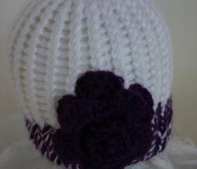 Royal Purple Rose newborn hat, Sophie Collection