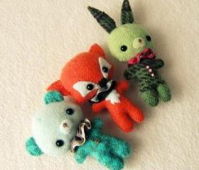 Bunny, Bear and Fox Brooch pdf Patterns