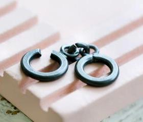 Oxidized Sterling Silver C Ring Clasp
