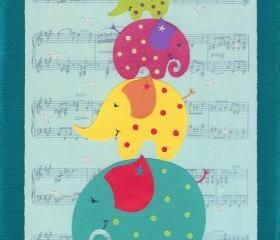 Elephant Musical Statues - 10 x 8 Children's Art Print