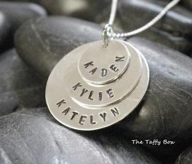 3 Disc Layered Sterling Silver Hand Stamped Necklace