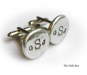 Hand Stamped Pewter Cuff Links