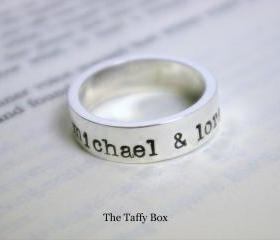 Thick Hand Stamped Sterling Silver Ring Band