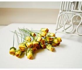 Mulberry paper mini Rose Buds flower yellow / pack 
