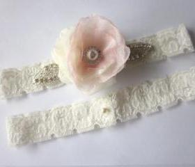 Bridal Garter Set - NEW 2012 Stardust Elegance - Soft Pink & Ivory - Available in all colours