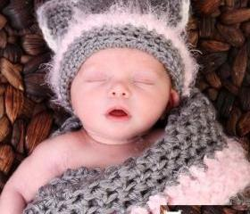 Newborn Kitty Cocoon Set with Kitty Hat, Photo prop