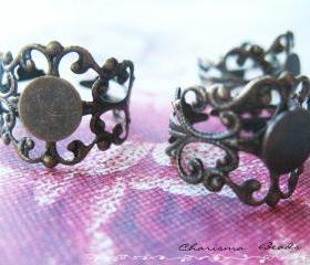 6 Antique Bronze Brass Filigree Adjustable Ring Shanks 18mm, 16mm