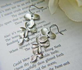 Matte Silver Orchid Flower .Titanium Earrings. Hypoallergenic