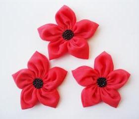 Red Flowers Handmade Appliques Embellishments(3 pcs)