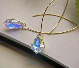Swarovski Baroque Aurora Borealis Crystal Earrings. Wedding Bridal Jewelry. Gold Earrings