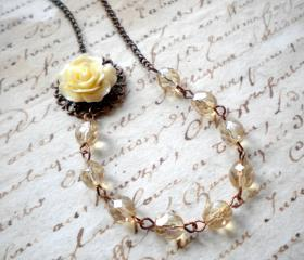 Flower Necklace - Cream Necklace - Bridesmaid Necklace - Bridal Necklace