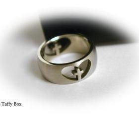 Christian Ring - Silver with cross and heart