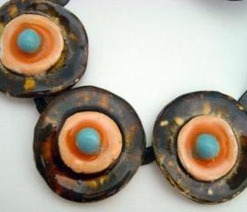ceramic Necklace honey orange and turquoise